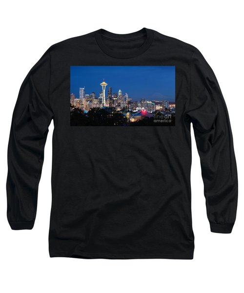 Long Sleeve T-Shirt featuring the photograph Seattle Twight by Peter Simmons
