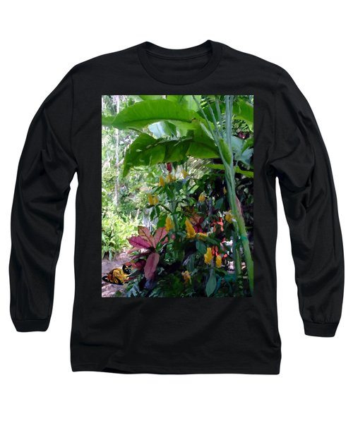 Long Sleeve T-Shirt featuring the painting Secret Garden Cat by David  Van Hulst