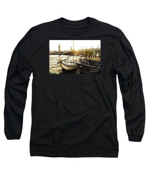 Seine River With Barges And Boats, Pont De Alexandre Bridge Behind, Paris France. Long Sleeve T-Shirt by Perry Van Munster