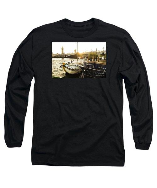 Seine River With Barges And Boats, Pont De Alexandre Bridge Behind, Paris France. Long Sleeve T-Shirt