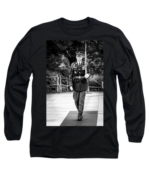 Long Sleeve T-Shirt featuring the photograph Sentinel At The Tomb Of The Unknowns by David Morefield