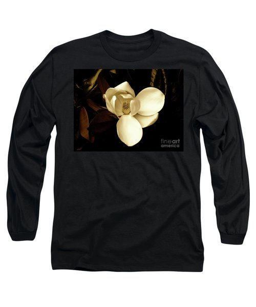 Sepia-toned Magnolia Long Sleeve T-Shirt