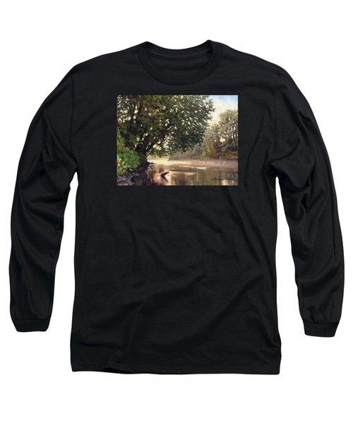 September Dawn Little Sioux River - Plein Air Long Sleeve T-Shirt by Bruce Morrison