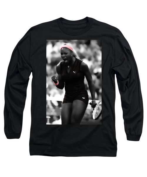 Serena Williams On Fire Long Sleeve T-Shirt by Brian Reaves