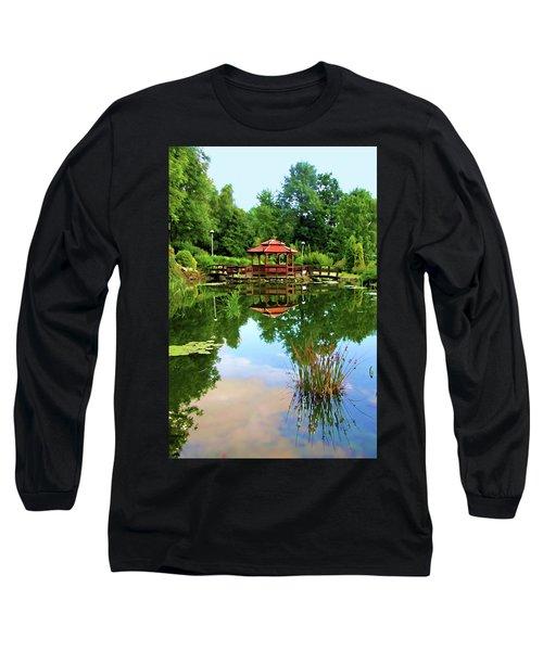 Serene Garden Long Sleeve T-Shirt by Mariola Bitner