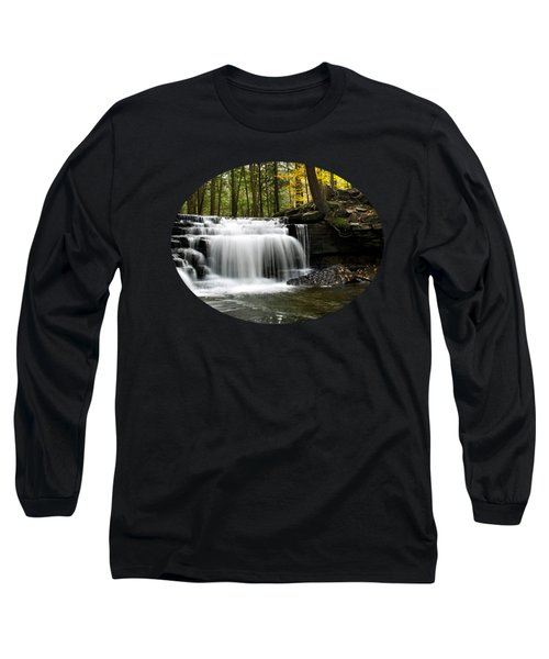 Serenity Waterfalls Landscape Long Sleeve T-Shirt by Christina Rollo