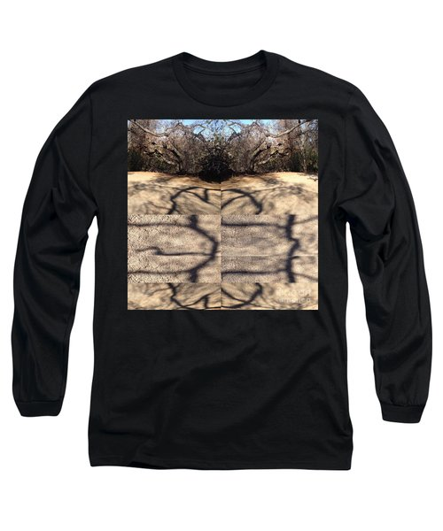 Long Sleeve T-Shirt featuring the photograph Shadow Crack Lines by Nora Boghossian
