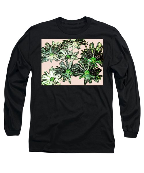 Shasta Daisies Watercolor Sketch Long Sleeve T-Shirt by Merton Allen