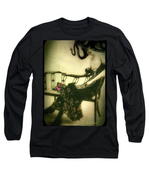Long Sleeve T-Shirt featuring the digital art She Wore An Octopus On Her Head For A Hat by Delight Worthyn