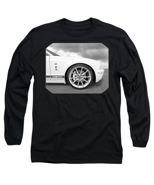 Shelby Gt500 Wheel Black And White Long Sleeve T-Shirt