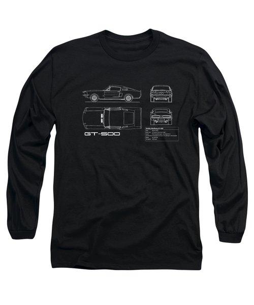 Shelby Mustang Gt500 Blueprint Long Sleeve T-Shirt