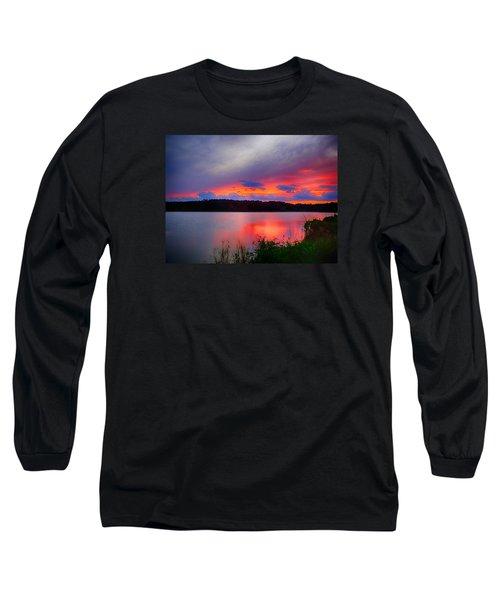 Long Sleeve T-Shirt featuring the photograph Shelf Cloud At Sunset by Bill Barber