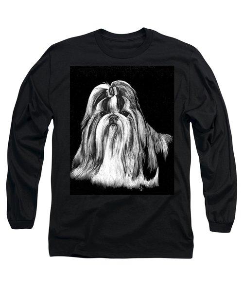 Long Sleeve T-Shirt featuring the drawing Shih Tzu by Rachel Hames