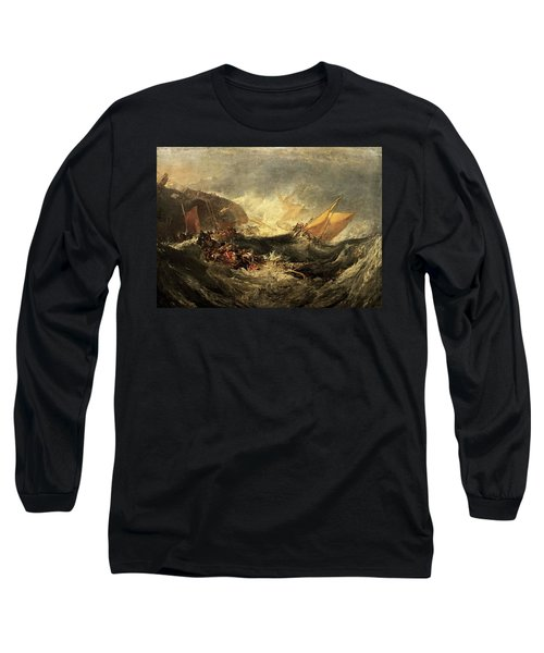 Long Sleeve T-Shirt featuring the painting Shipwreck Of The Minotaur by J M William Turner
