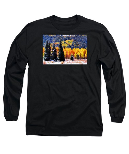 Long Sleeve T-Shirt featuring the photograph Shivering Pines In Autumn by Diane Alexander