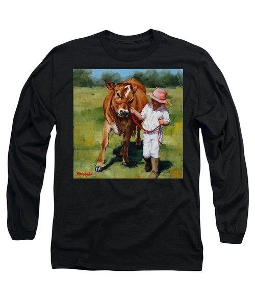 Long Sleeve T-Shirt featuring the painting Showgirls by Margaret Stockdale