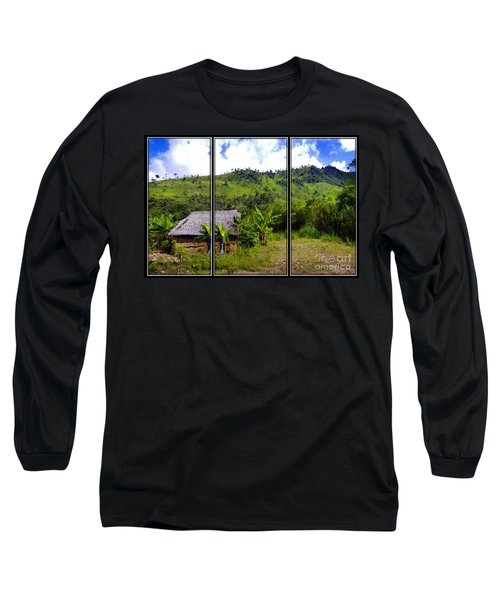Long Sleeve T-Shirt featuring the photograph Shuar Hut In The Amazon by Al Bourassa