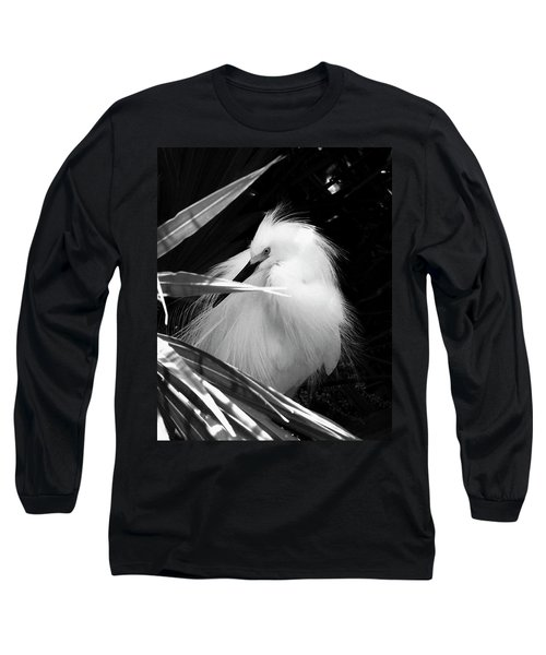 Shy Snowy Egret Long Sleeve T-Shirt