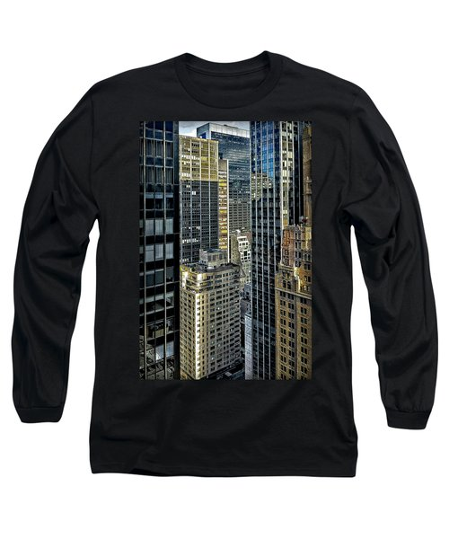 Long Sleeve T-Shirt featuring the photograph Sights In New York City - Skyscrapers Shot From Skyscraper by Walt Foegelle