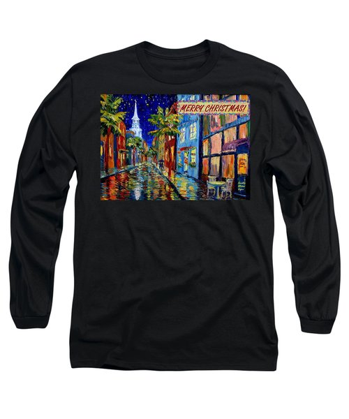 Silent Night Christmas Card Long Sleeve T-Shirt by Dorothy Allston Rogers