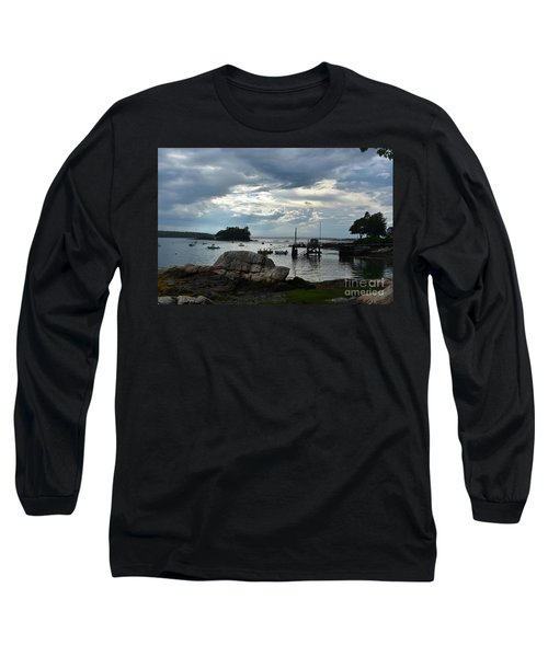 Silhouetted Views From Bustin's Island In Maine Long Sleeve T-Shirt by DejaVu Designs