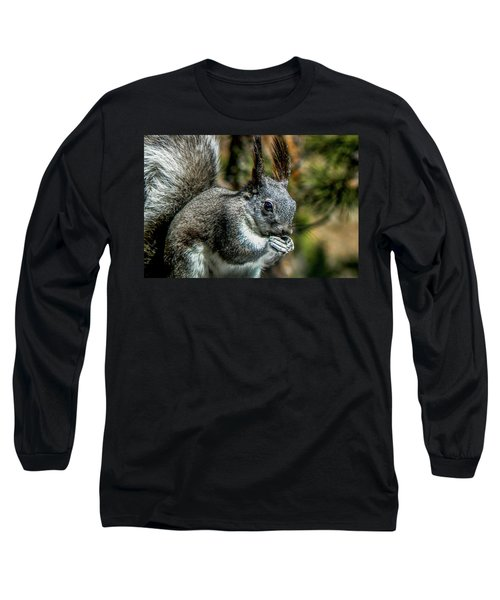 Silver Abert's Squirrel Close-up Long Sleeve T-Shirt by Marilyn Burton