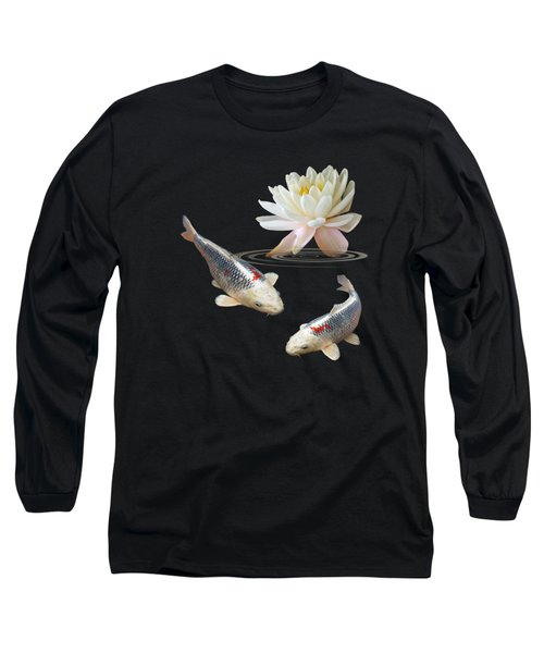 Silver And Red Koi With Water Lily Vertical Long Sleeve T-Shirt by Gill Billington