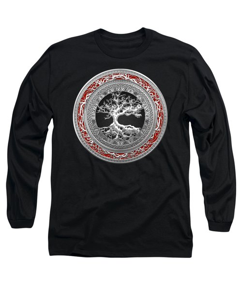Silver Celtic Tree Of Life Long Sleeve T-Shirt