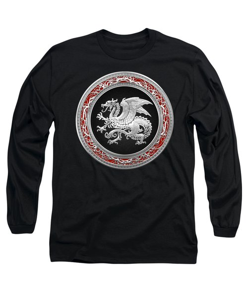 Silver Icelandic Dragon  Long Sleeve T-Shirt by Serge Averbukh