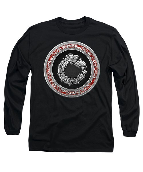 Silver Serpent God Quetzalcoatl Long Sleeve T-Shirt