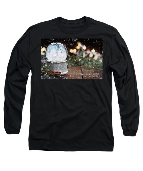 Long Sleeve T-Shirt featuring the photograph Silver Snow Globe With White Christmas Trees by Stephanie Frey