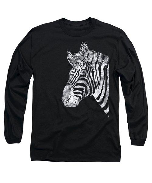 Silver Zebra, African Wildlife, Wild Animal In Silver Gilt Long Sleeve T-Shirt