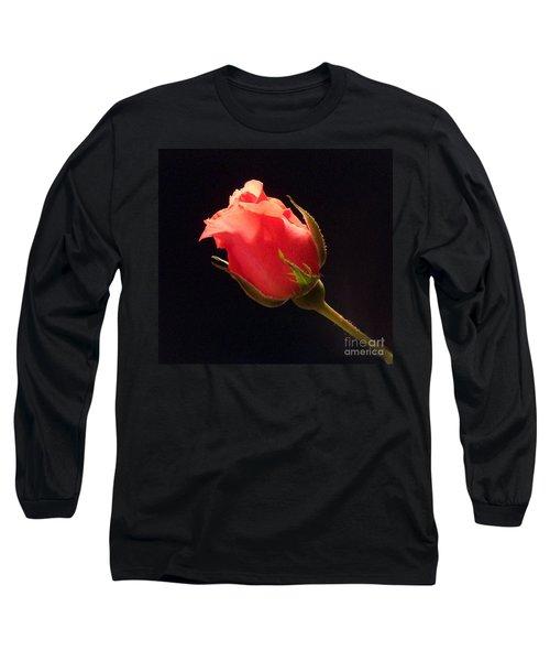 Single Pink Rose Bud Long Sleeve T-Shirt