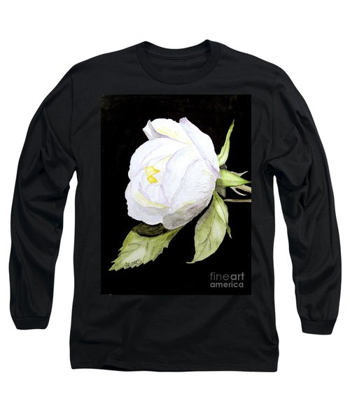 Long Sleeve T-Shirt featuring the painting Single White  Bloom  by Carol Grimes