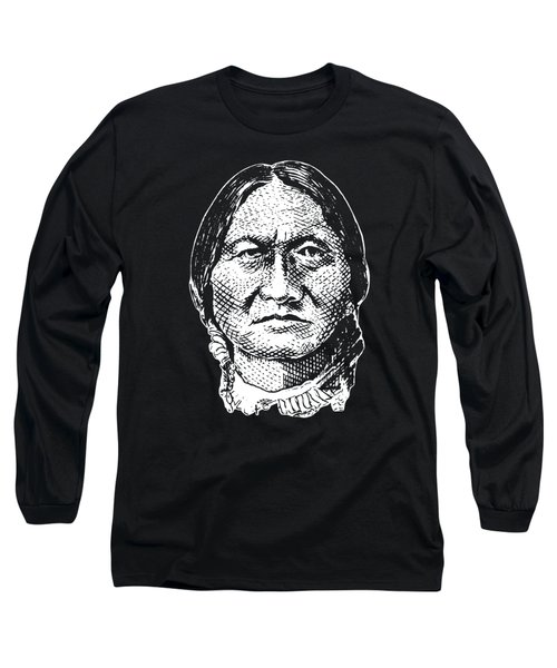 Sitting Bull Graphic - Black And White Long Sleeve T-Shirt
