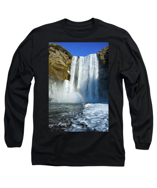 Long Sleeve T-Shirt featuring the photograph Skogafoss Waterfall Iceland In Winter by Matthias Hauser