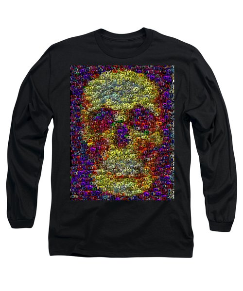 Long Sleeve T-Shirt featuring the mixed media Skull Eyeball Mosaic by Paul Van Scott