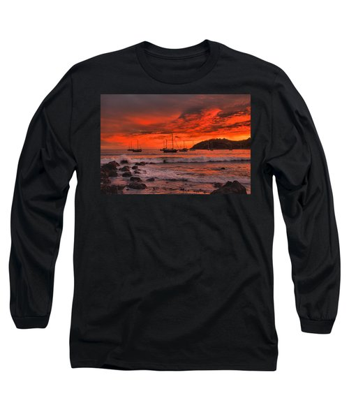 Sky On Fire Long Sleeve T-Shirt by Jim Walls PhotoArtist