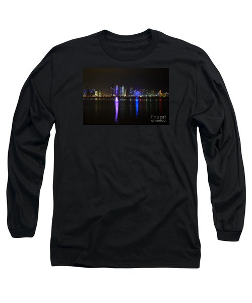 Skyline Of Doha, Qatar At Night Long Sleeve T-Shirt