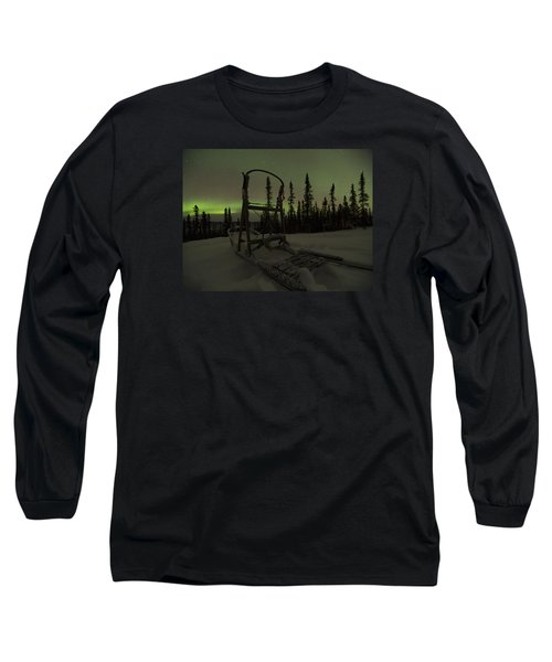 Sled Skeleton Aurora Long Sleeve T-Shirt