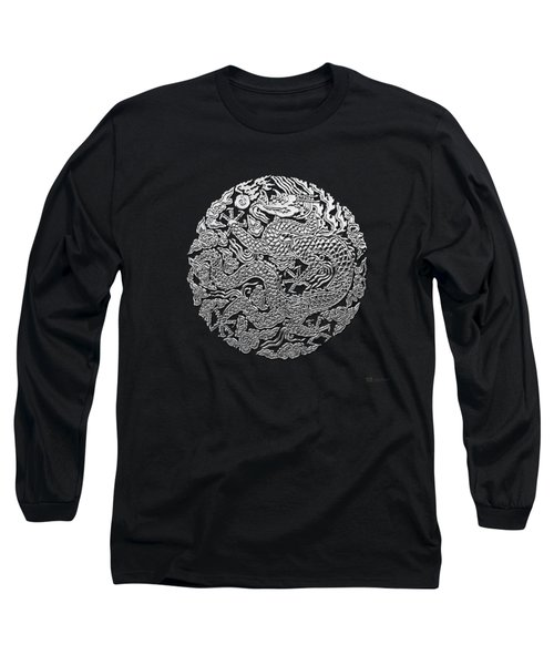 Sliver Chinese Dragon On Black Leather Long Sleeve T-Shirt by Serge Averbukh