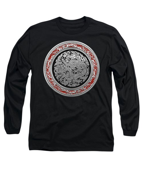 Sliver Chinese Dragon On Black Velvet Long Sleeve T-Shirt by Serge Averbukh