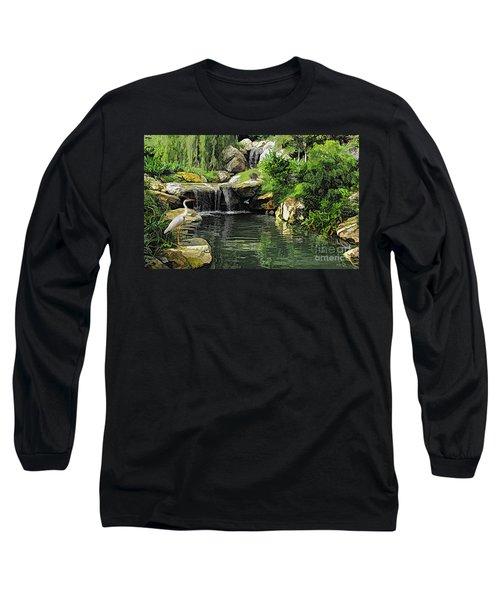 Small Creek Waterfall With Wildlife Long Sleeve T-Shirt
