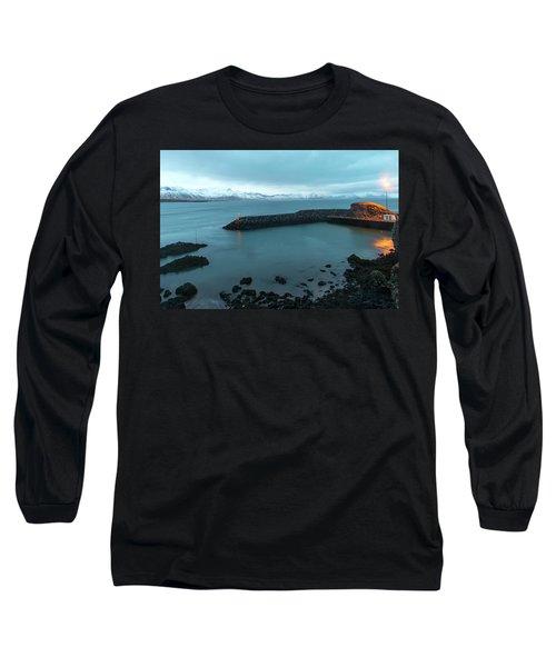 Long Sleeve T-Shirt featuring the photograph Small Port Near Snaefellsjokull Mountain, Iceland by Dubi Roman