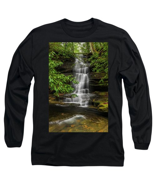 Small Waterfalls In The Forest. Long Sleeve T-Shirt by Ulrich Burkhalter