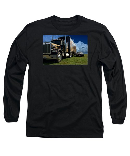 Long Sleeve T-Shirt featuring the photograph Smokey And The Bandit Tribute 1973 Kenworth W900 Black And Gold Semi Truck And The Bandit Transam by Tim McCullough
