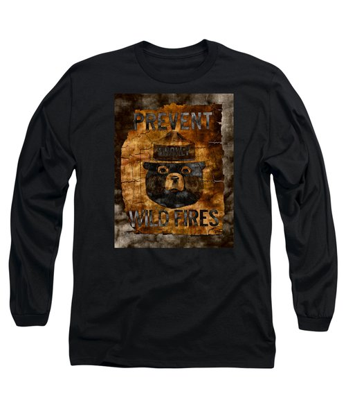 Smokey The Bear Only You Can Prevent Wild Fires Long Sleeve T-Shirt by John Stephens