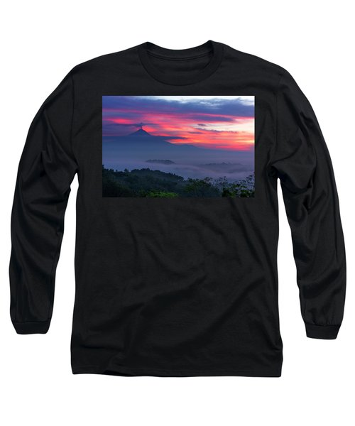 Smoking Volcano And Borobudur Temple Long Sleeve T-Shirt