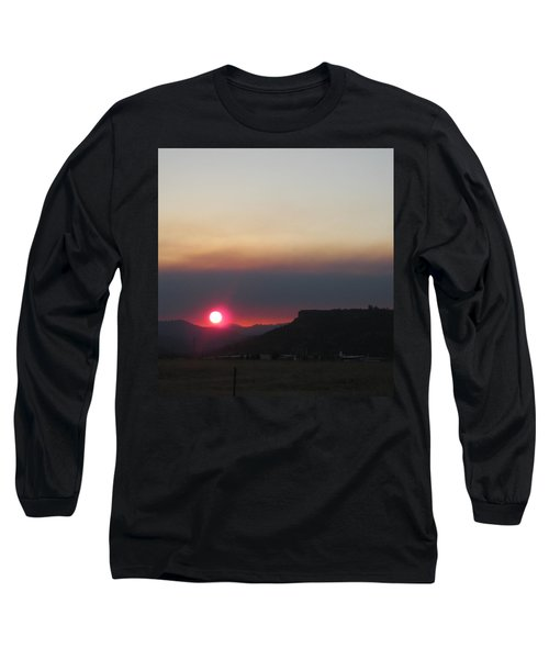 Long Sleeve T-Shirt featuring the photograph Smoky Sunset Near Table Rock by Marie Neder