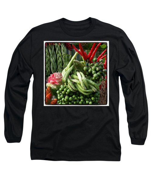 Long Sleeve T-Shirt featuring the photograph Snake Beans. At The Surin Elephant by Mr Photojimsf